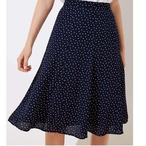 LOFT Navy Blue Polka Dot Midi Skirt